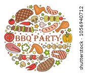 barbecue poster. bbq party... | Shutterstock .eps vector #1056940712