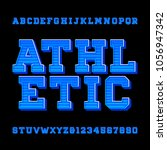 athletic alphabet vector font.... | Shutterstock .eps vector #1056947342