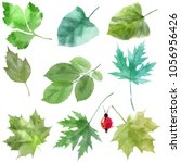 watercolor set of spring leaves | Shutterstock . vector #1056956426