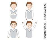 set actions cartoon working man ... | Shutterstock .eps vector #1056960122