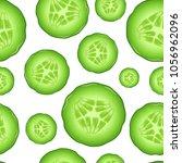 realistic 3d fresh raw cucumber ... | Shutterstock .eps vector #1056962096