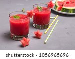 refreshing watermelon smoothie... | Shutterstock . vector #1056965696
