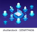 abstract digital technology... | Shutterstock .eps vector #1056974636