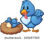 mother blue bird feeding babies ... | Shutterstock .eps vector #105697505