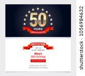 50 years anniversary invitation ... | Shutterstock .eps vector #1056984632