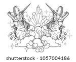 two graphic dinocorns. roaring... | Shutterstock .eps vector #1057004186