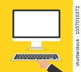 modern flat screen computer... | Shutterstock .eps vector #1057010372