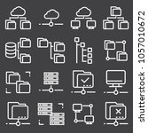 vector line folder tree icons... | Shutterstock .eps vector #1057010672