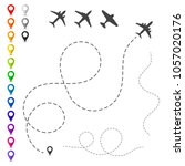 plane trace. set of vector... | Shutterstock .eps vector #1057020176