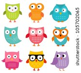 Stock vector owls vector set 105702065