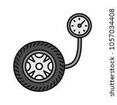 Tire Pressure Gauge Color Icon. ...