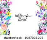 watercolor floral background....   Shutterstock . vector #1057038206