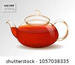 vector glass teapot with tea... | Shutterstock .eps vector #1057038335