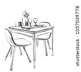 table setting set. weekend... | Shutterstock .eps vector #1057039778
