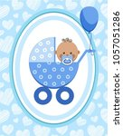 a little boy in a blue stroller.... | Shutterstock .eps vector #1057051286