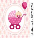 a little girl in a pink... | Shutterstock .eps vector #1057055786