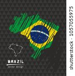brazil national vector map with ... | Shutterstock .eps vector #1057055975