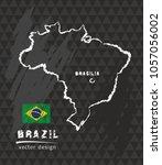 brazil map  vector pen drawing... | Shutterstock .eps vector #1057056002