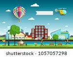 city with people and hot air... | Shutterstock .eps vector #1057057298