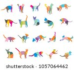 set of colorful mosaic... | Shutterstock .eps vector #1057064462