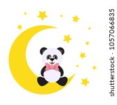 cartoon cute panda with tie... | Shutterstock .eps vector #1057066835