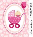 a little girl in a pink... | Shutterstock .eps vector #1057069136