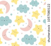 cloud  moon and stars cute... | Shutterstock .eps vector #1057080122