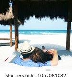 honeymoon couple paradise | Shutterstock . vector #1057081082