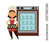 baker woman in bakery shop... | Shutterstock .eps vector #1057082186