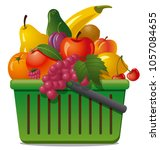 illustration of market basket... | Shutterstock . vector #1057084655