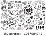 a set of graffiti doodles... | Shutterstock .eps vector #1057084742