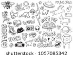 a set of graffiti doodles... | Shutterstock .eps vector #1057085342