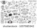 a set of graffiti doodles... | Shutterstock .eps vector #1057085342