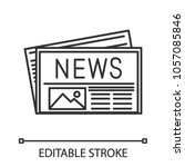 newspaper linear icon. thin... | Shutterstock .eps vector #1057085846