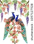 vector floral summer pattern... | Shutterstock .eps vector #1057127528