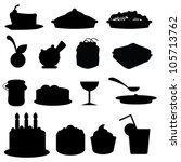 food silhouettes icons for... | Shutterstock .eps vector #105713762