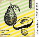 fresh avocado design template.... | Shutterstock .eps vector #1057141298