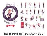 secret agent woman  lady spy of ... | Shutterstock .eps vector #1057144886