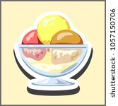 ice cream with three balls of... | Shutterstock .eps vector #1057150706