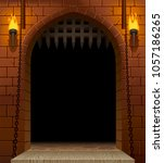 medieval castle gate with a... | Shutterstock .eps vector #1057186265