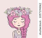 cute girl in flower wreath.... | Shutterstock .eps vector #1057194062