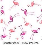 seamless pattern  flamingo... | Shutterstock .eps vector #1057198898