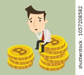 worry about the fall of bitcoin ... | Shutterstock .eps vector #1057208582