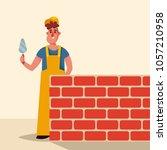funny cartoon character. worker ... | Shutterstock .eps vector #1057210958
