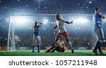 soccer game moment  on... | Shutterstock . vector #1057211948