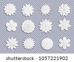 vector paper flowers set on... | Shutterstock .eps vector #1057221902