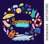 set of beach summer holidays... | Shutterstock .eps vector #1057229282
