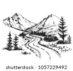 sketch of a landscape with a... | Shutterstock .eps vector #1057229492