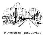 sketch of the desert of america ... | Shutterstock .eps vector #1057229618