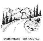 sketch of a landscape with a... | Shutterstock .eps vector #1057229762